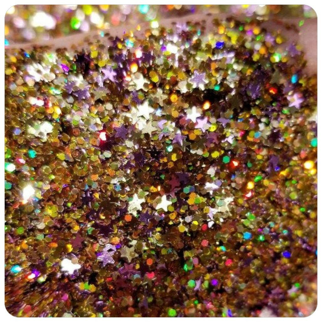SOLAR FLARE - HOLOGRAPHIC GOLD DOTS and LILAC STARS Chunky Glitter Mix