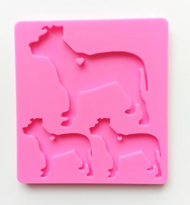 Dog family silicone mold