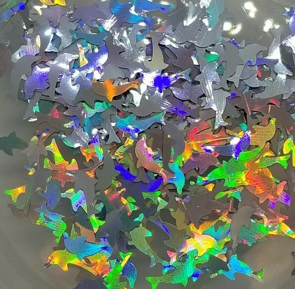 Dolphin Glitter Shape - Silver Holographic