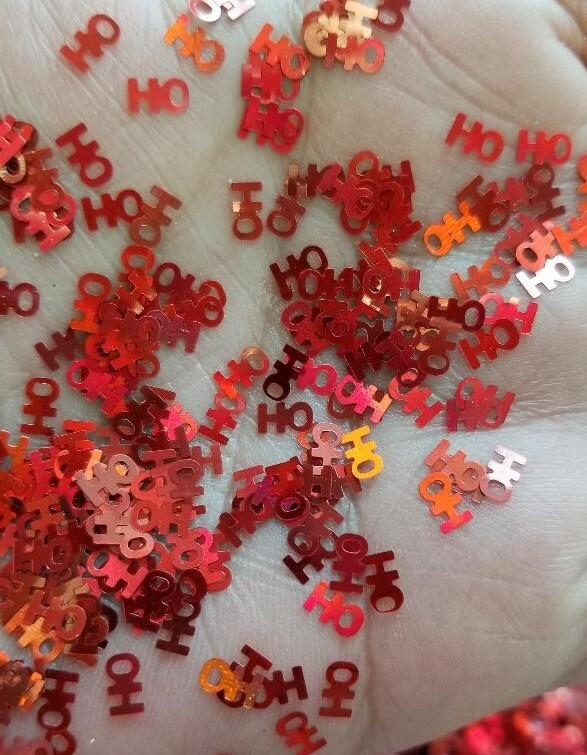 HO HO  Christmas Glitter Shape - Red Holographic